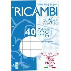RICAMBI FORATI A4 10MM QUAXIMA 40FG 80GR PIGNA