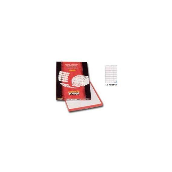 ETICHETTA ADESIVA C/500 ROSSO 100FG IN A4 (24 ETICHETTE DA 70X36MM)