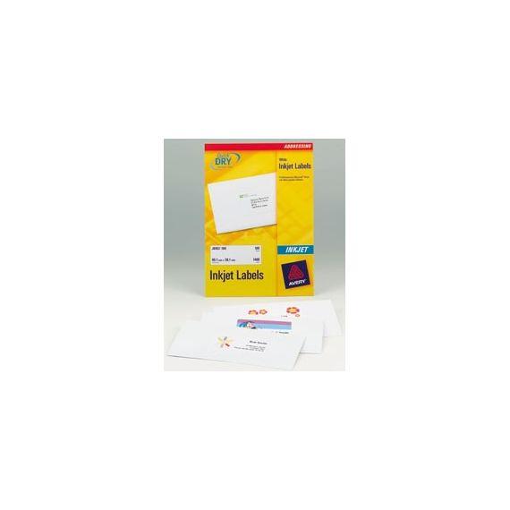 ETICHETTE INKJET BIANCHE J8160-25FG (21ET/FG 63.5X38.1) QUICK DRY AVERY