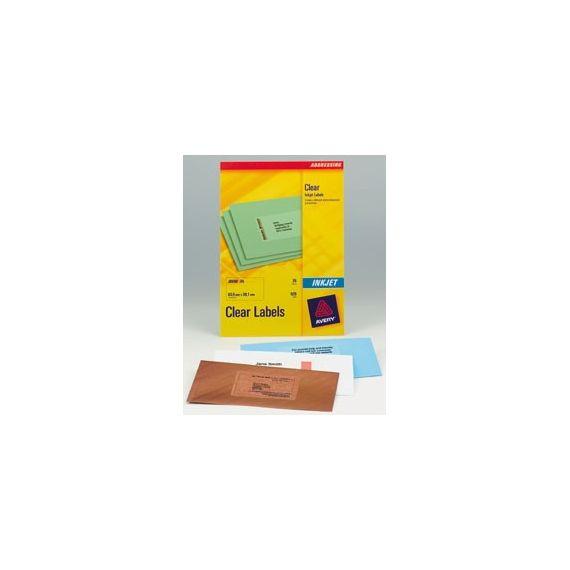 ETICHETTE INKJET TRASPARENTI J8560-25FG (21ET/FG 63.5X38.1) QUICKPEEL AVERY