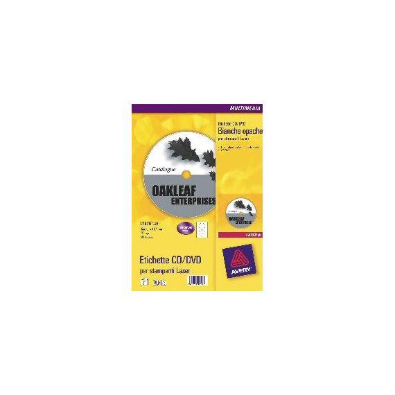 ETICHETTE LASER BIANCHE L7676-100FG (2ET/FG 117) X CD/DVD FULL-FACE AVERY
