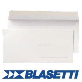 500 BUSTE BIANCHE 110X230MM 90GR S/FINESTRA C/STRIP BLASETTI