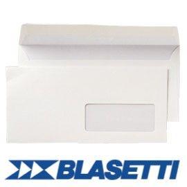 500 BUSTE BIANCHE 110X230MM 90GR C/FINESTRA SUPERSTRIP BLASETTI