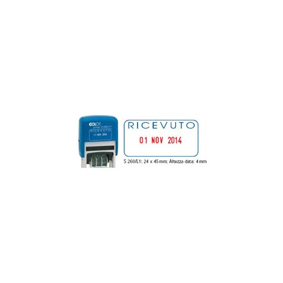 TIMBRO DATARIO + RICEVUTO S260/L1 AUTOINC.COLOP BLISTER
