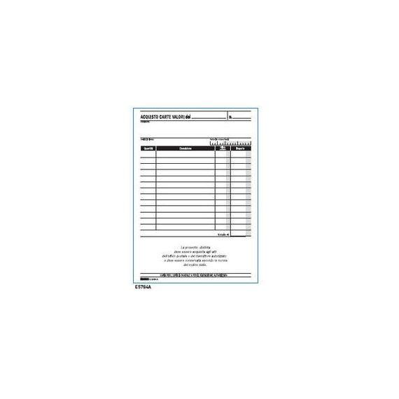BLOCCO ACQUISTO VALORI BOLLATI 50/50FG AUTORIC. 23X15 E5784A
