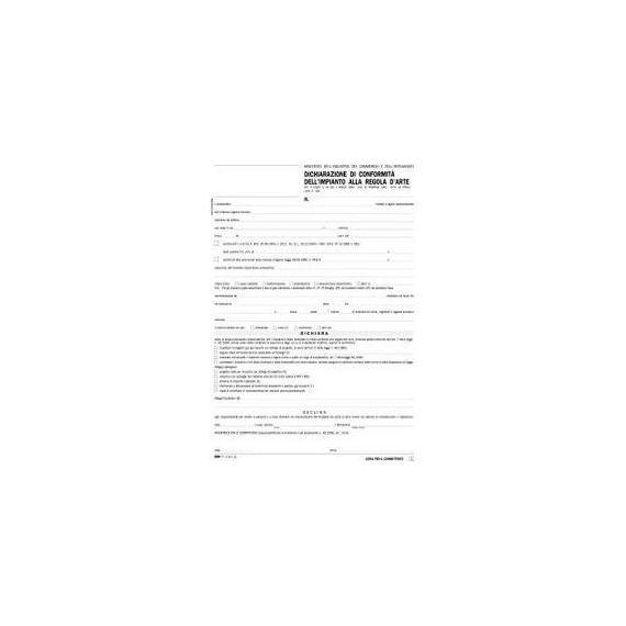 100FG 29,7X21 DICHIARAZIONE CONFORMITA IMPIANTO SNAP A 5 COPIE AUTORIC E9071