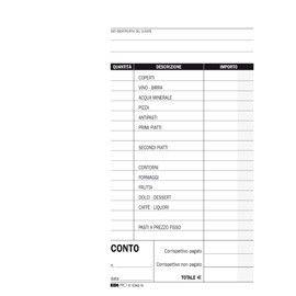 BLOCCO CONTO RISTORANTE C/DETTAGLIO VOCI 100FG USO MANO 22X10 E5343N