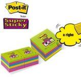 BLOCCO 90foglietti Post-itSuper Sticky 100x100mm righe ULTRACOLOR 675-6SUCC