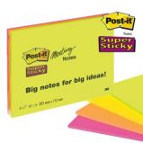 BLOCCO 45foglietti Post-itSuper Sticky 203x152mm MEETING NOTE NEON 6845-SSP