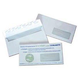 500 BUSTE BIANCHE 110X230MM 90GR C/FINESTRA FSC STRIP LASER BLASETTI