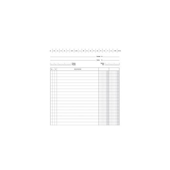 100 SCHEDE VERTICALE 21X15CM DARE/AVERE/SALDO E3336BL