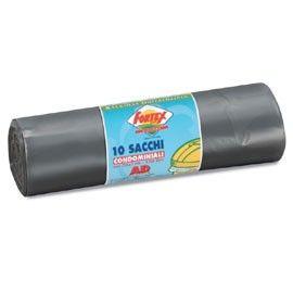 10 SACCHI IMMONDIZIA 70X110CM 120LT HD 16 GRIGIO FORTEX
