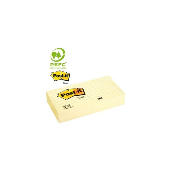 BLOCCO 100fg Post-it 76x76mm GIALLO A RIGHE 630-6PK
