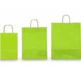 25 SHOPPERS CARTA KRAFT 26x11x34,5cm TWISTED verde acido