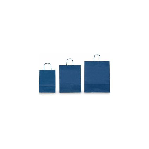 25 SHOPPERS CARTA KRAFT 26x11x34,5cm TWISTED blu