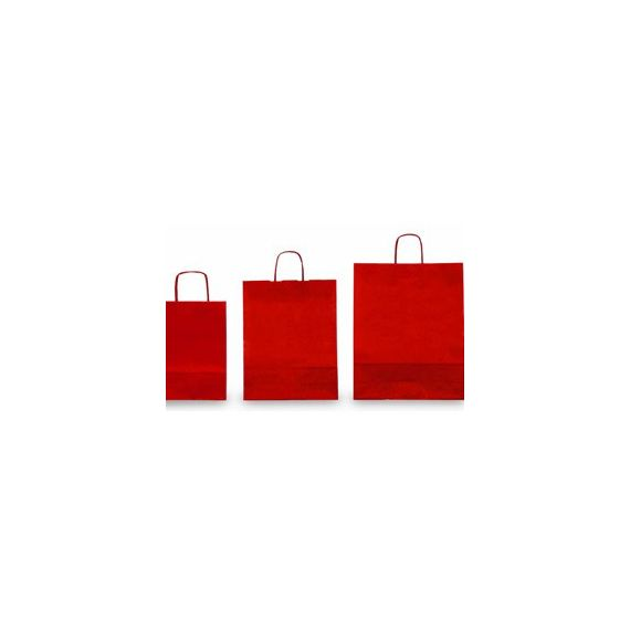 25 SHOPPERS CARTA KRAFT 36x12x41cm TWISTED rosso