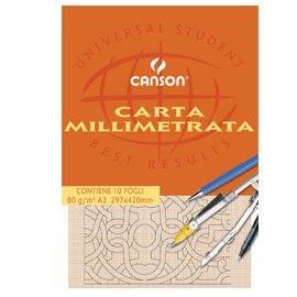 BLOCCO CARTA OPACA MILLIMETRATA 210x297mm 10FG 80GR CANSON