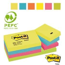 BLOCCO 100foglietti Post-it 38x51mm 653-TFEN ENERGY 72GR ASSORTITO
