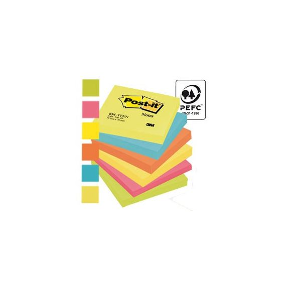 BLOCCO 100foglietti Post-it 76x76mm 654-TFEN ENERGY 72GR ASSORTITO