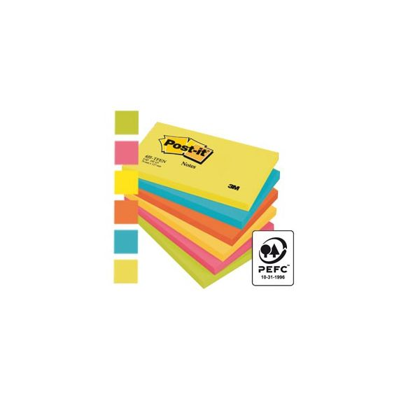 BLOCCO 100foglietti Post-it 76x127mm 655-TFEN ENERGY 72GR ASSORTITO