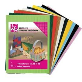 SET 10FG CARTONCINO ONDULATO 25X35CM CANNETE colori assortiti CWR