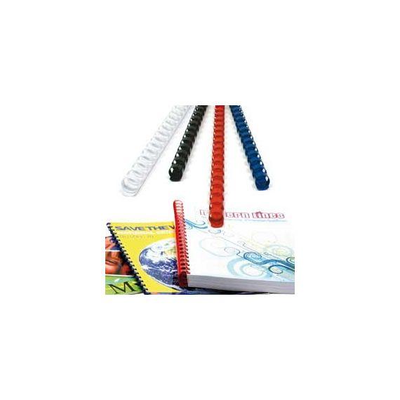 100 DORSI PLASTICI 21 ANELLI 10MM BIANCO TiTanium