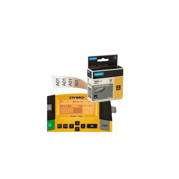 NASTRO NYLON FLESSIBILE 12mm x 3.5mt nero su bianco 18488 RHINO