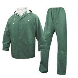 COMPLETO IMPERMEABILE EN304 Tg. XL verde (giacca+pantalone)