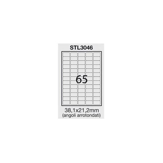 ETICHETTA ADESIVA BIANCA 100FG A4 (65 ET. 38,1X21,2mm) angoli arrot.STARLINE