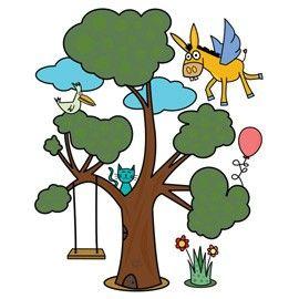 ADESIVI MURALI REMOVIBILI - A VERY MAGIC TREE - SIZE L 48x68 WALLSKIN